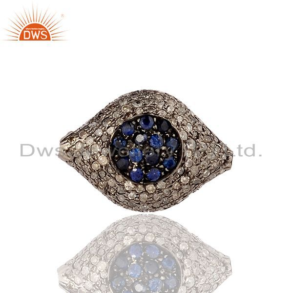0.18cts Sapphire Pave Diamond 925 Sterling Silver Evil Eye Design Spacer Finding