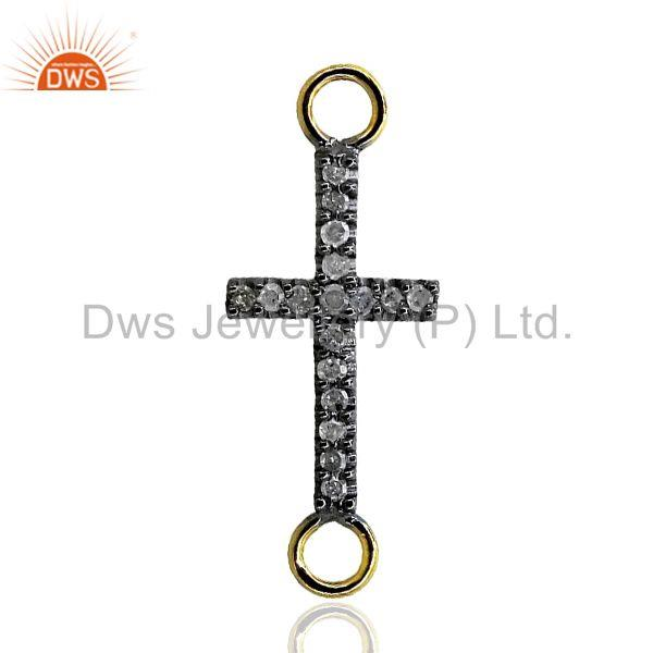 14k Gold Diamond Pave 925 Silver Cross Bracelet Connector Finding Fine Jewelry