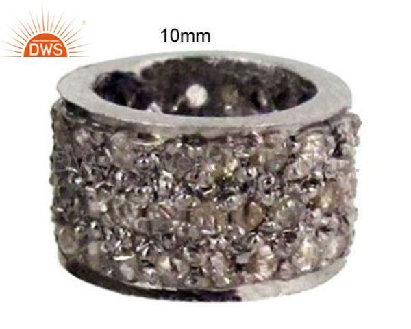 Fine 925 Sterling Silver Natural 1/3ct Diamond Pave Spacer Bead Findings Jewelry