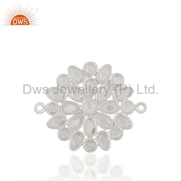 White Cz Solid 925 Silver Handmade Connector Jewelry Findings Manufacturers