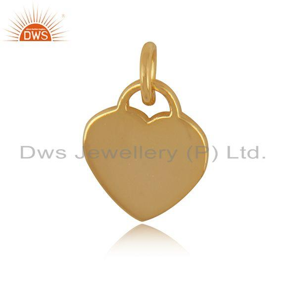 Heart Design Yellow Gold Plated Plain Sterling Silver Charm Pendant