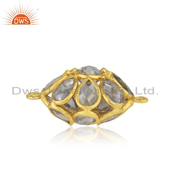 Genuine White Zircon Yellow Gold Plated Silver Jewelry Findings Supplier