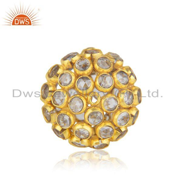 Yellow Gold Plated 925 Silver White Zircon Jewelry Findings Manufacturer