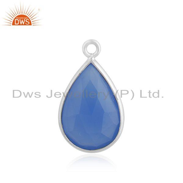 925 Sterling Silver Handmade Blue Chalcedony Gemstone Connector Finding Supplier