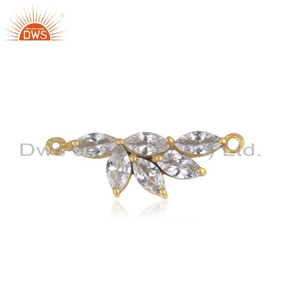 925 Silver Yellow Gold Plated CZ Designer Connector Jewelry Supplier