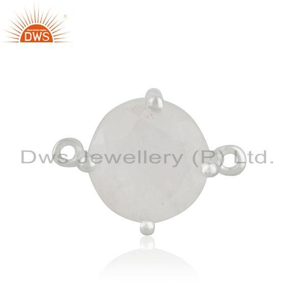Wholesale Silver Plated Brass Rainbow Moonstone Connector Jewelry