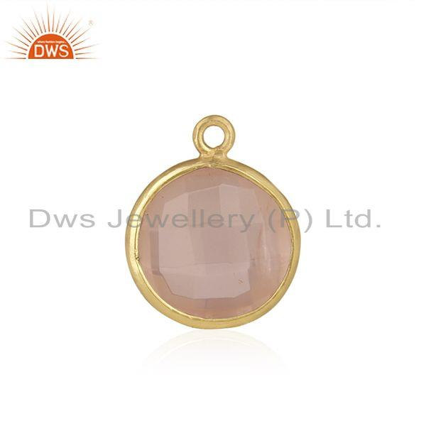Rose Quartz Gemstone Gold Plated 925 Silver Jewelry Findings Wholesale