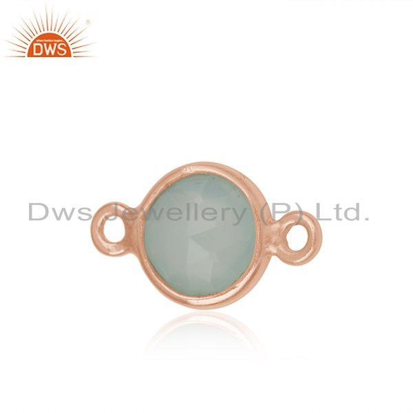 Rose Gold Plated 925 Silver Chalcedony Gemstone Connector Findings