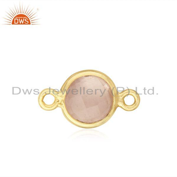 Chalcedony Gemstone Gold Plated 925 Silver Connector Wholesale