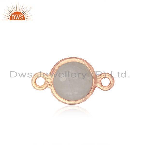 Rainbow Moonstone Rose Gold Plated Silver Connector Manufacturer