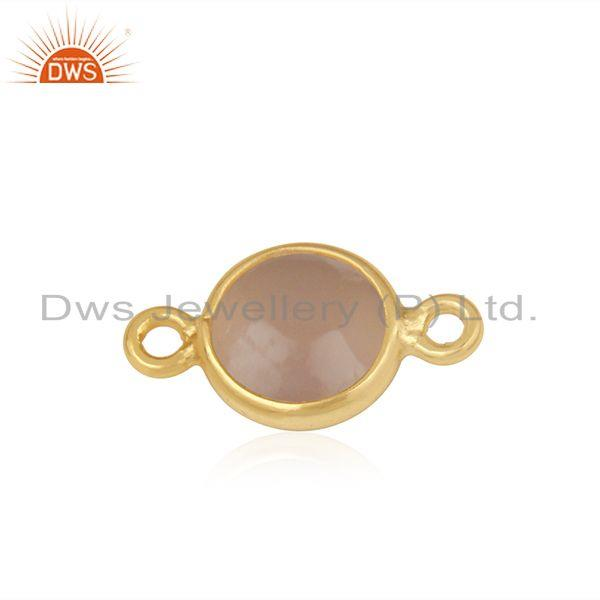Rose Chalcedony Gemstone Gold Plated 925 Silver Connector Supplier