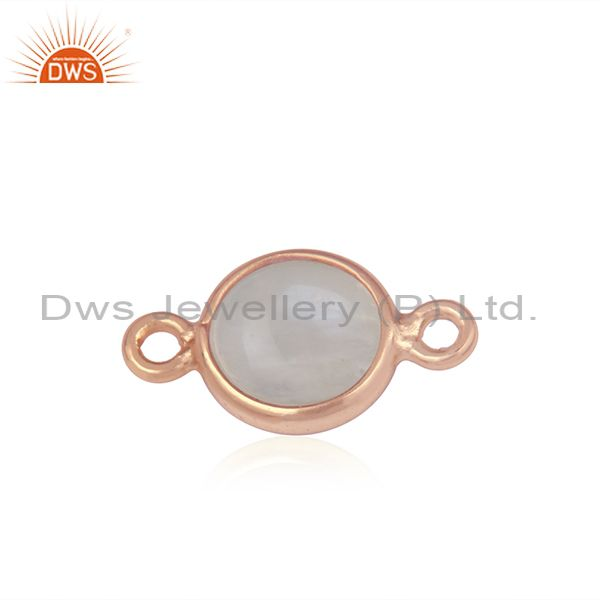Rose Gold Plated 925 Silver Rainbow Moonstone Connector Wholesaler