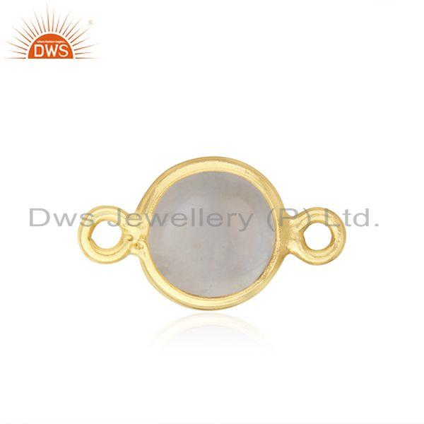 Gold Plated Sterling Silver Rainbow Moonstone Connector Wholesaler