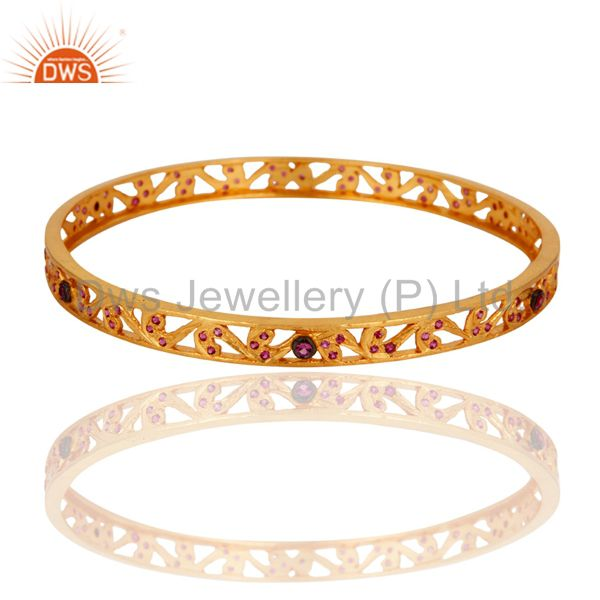 18K Yellow Gold Plated Red Cubic Zirconia Anniversary Fashion Bracelets & Bangle