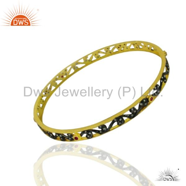 Multi Color CZ Sleek 14K Yellow Gold Plated 925 Sterling Silver Bangle Jewelry