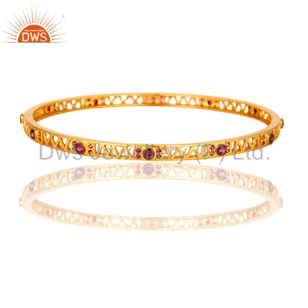 Designer Yellow Gold Plated Fashion Bangle For Women With Red Cubic Zirconia
