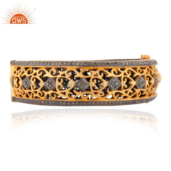 18k Gold Over Sterling Silver Pave Diamond Designer Casual Wear Bangle Jewelry