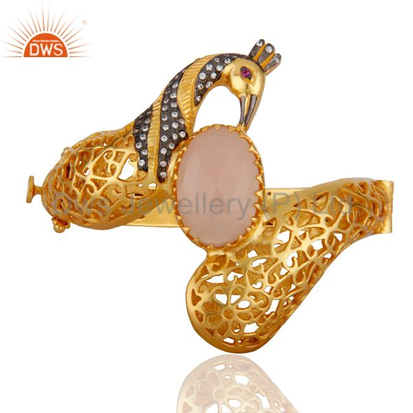 18K Gold Plated Rose Chalcedony Unique Peacock Design Openable Bangle With CZ