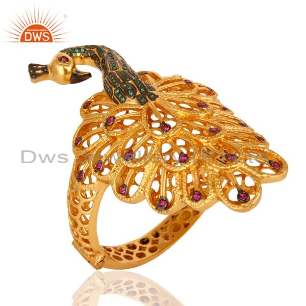 14K Gold Plated Peacock Design Bridal Fashion Bangle With Red & Green CZ
