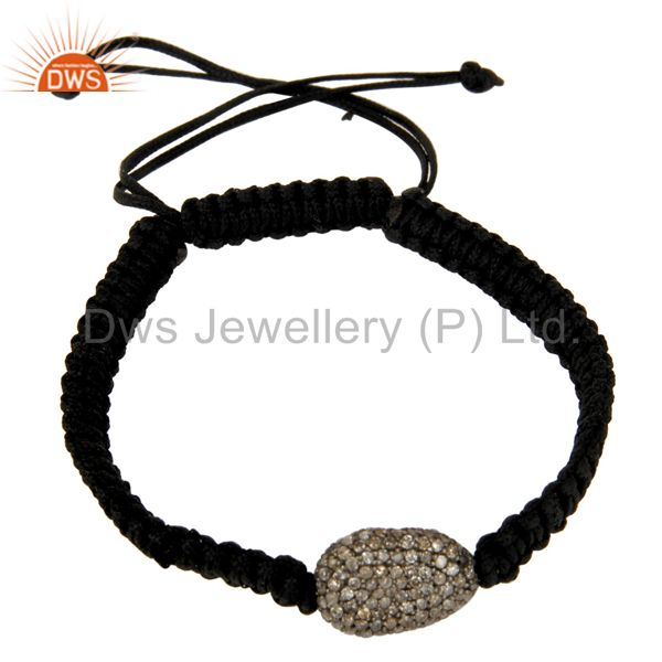 Diamond 925 Sterling Silver Beads Gemstone Black Macrame Unisex Bracelet