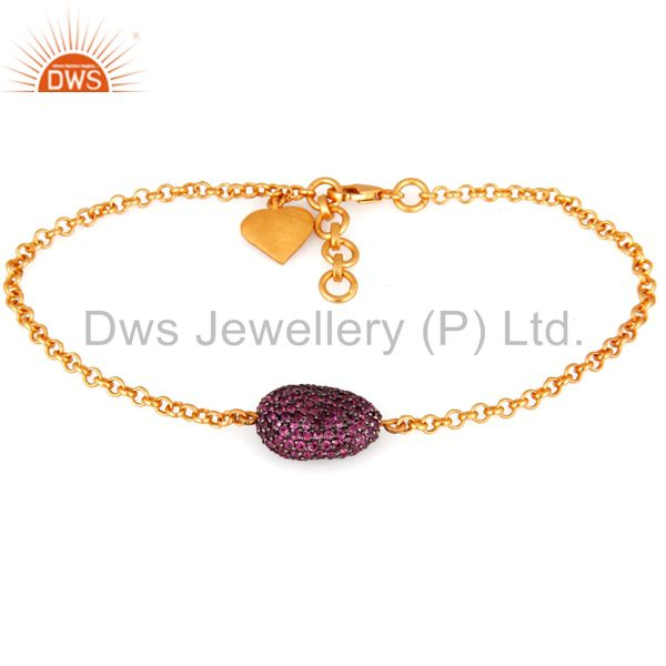 18K Yellow Gold Plated Sterling Silver Ruby Gemstone Finding Chain Bracelet