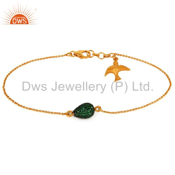 Gold Plated 925 Silver Tsavorite Pave Bead Chain Flying Brid Charm Bracelet