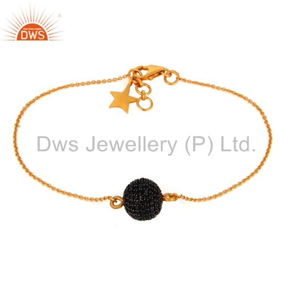 18K Gold Over Sterling Silver Blue Sapphire Pave Beads Chain Beautiful Bracelets