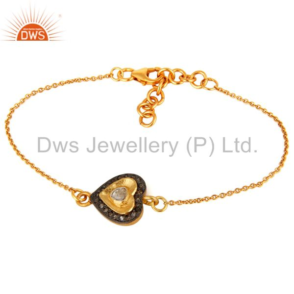 Gold Plated Sterling Silver Rose Cut Diamond Heart Charm Chain Style Bracelet