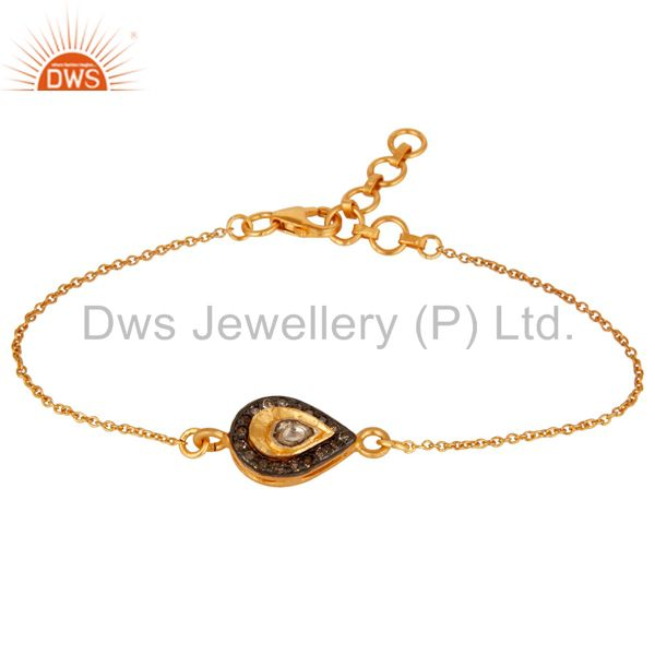 18K Yellow Gold Plated 925 Silver Diamond Adjustable Chain Bracelet