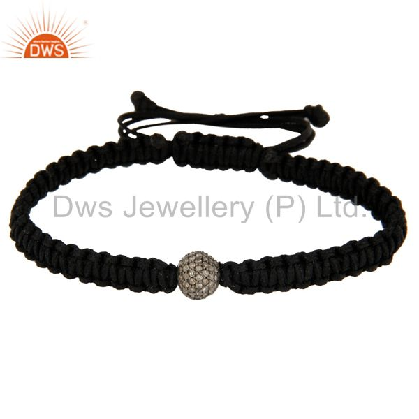 925 Sterling Silver Diamond Pave Beads Macrame Bracelet Fashion Jewelry