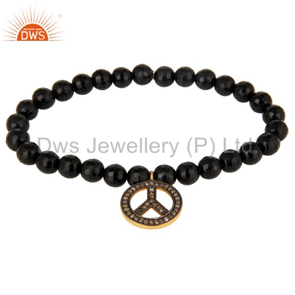 6mm Faceted Black Onyx Beads Stretch Bracelet With Pave Diamond Peace Sign Charm