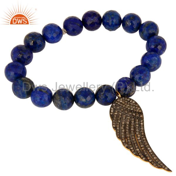 Lapis Lazuli Pave Diamond 18K Gold On Sterling Silver Angel Wing Charm Bracelet