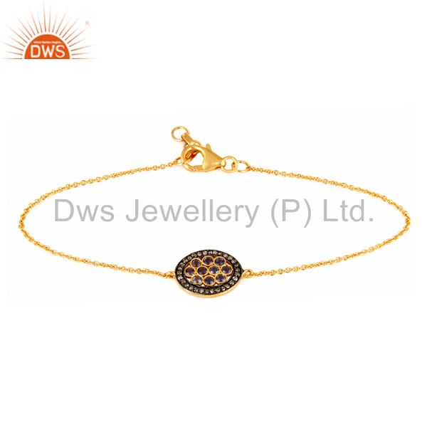 Pave Diamond And Iolite Gemstone 18K Gold Over Sterling Silver Chain Bracelets