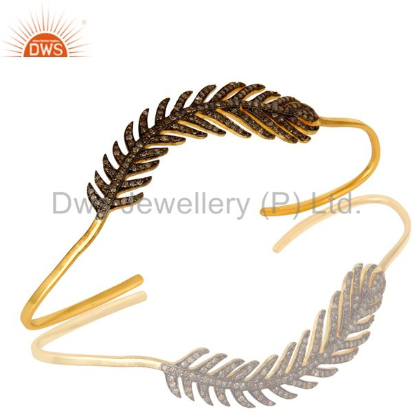 Pave Diamond Designer Palm Bracelet Made In 14K Gold Over Sterling Silver