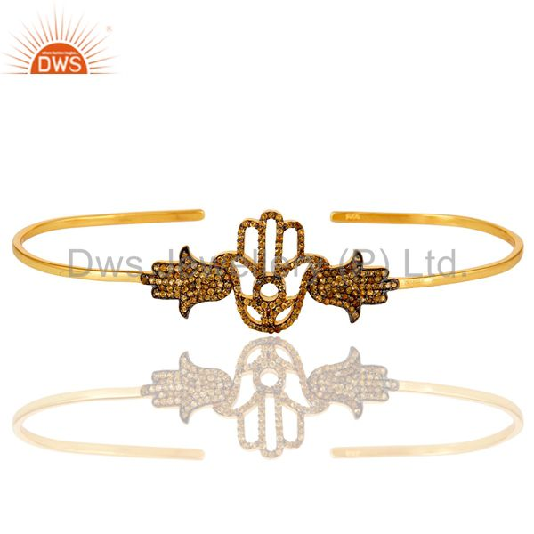 14K Yellow Gold Plated Sterling Silver Citrine Hamsa Hand Palm Bracelet Bangle