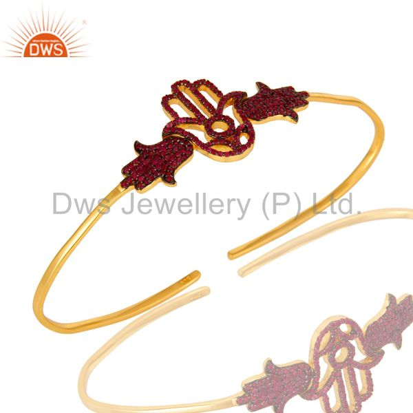 18K Gold Plated Silver Ruby Gemstone Hamsa Hand Palm Bracelet Bangle