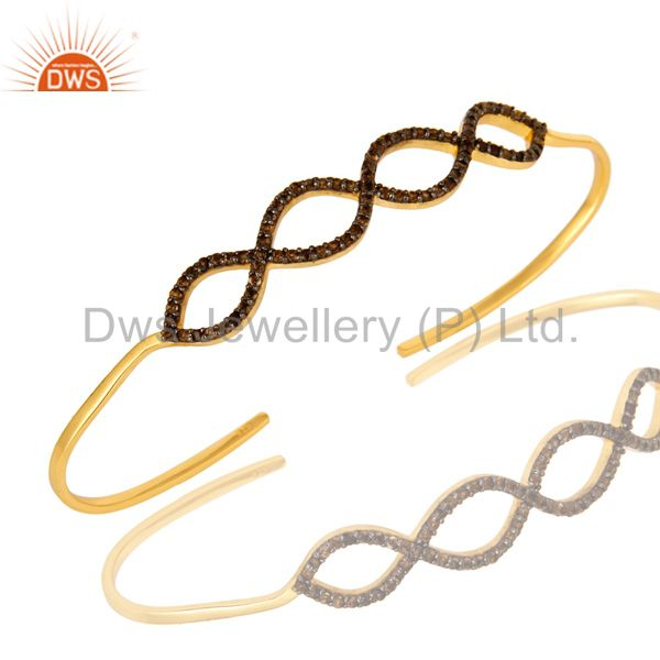 18K Gold Over Sterling Silver Smoky Quartz Accent Infinity Bangle Bracelet