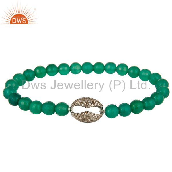 Faceted Green Onyx Beads Stretch Bracelet With Pave Set Diamond Silver Charms