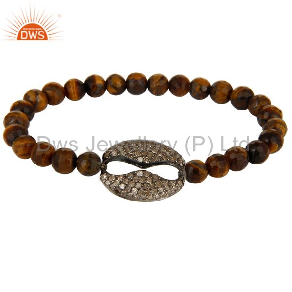 Natural Tiger Eye Gemstone Stretch Bracelet With Pave Set Diamond Silver Charms