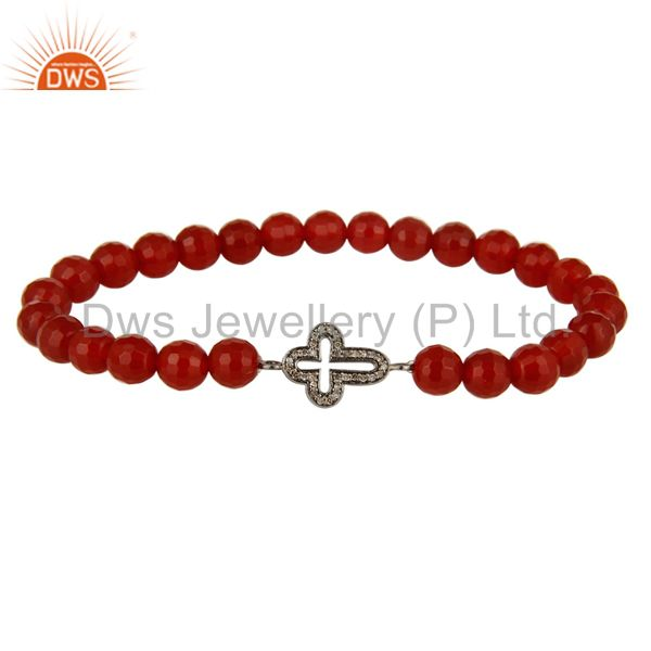Pave Set Diamond 925 Silver Cross Charm Carnelian Beaded Adjustable Bracelet
