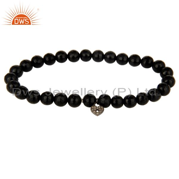 Faceted Black Onyx Beads Pave Diamond Sterling Silver Lock Charms Bracelet