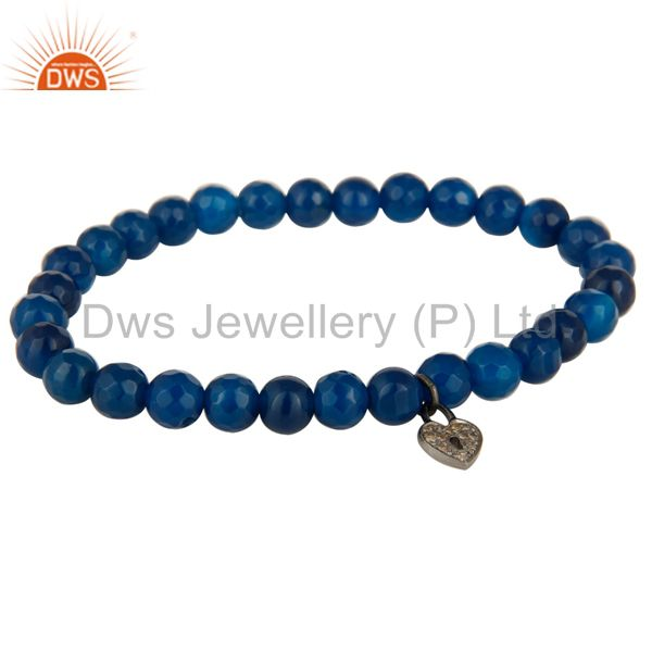 Blue Onyx Faceted Beads Stretch Bracelet With Silver Diamond Pave Pad Lock Charm