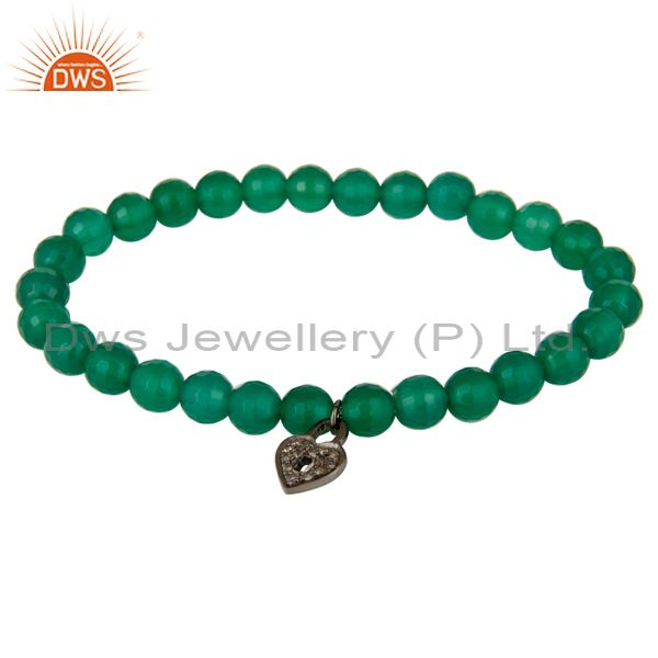 6mm Green Onyx Gemstone Beads Stretch Bracelet With Silver Pave Diamond Charms