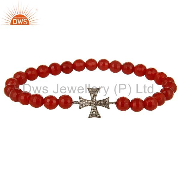 Carnelian Gemstone Beaded Stretch Bracelet with Pave Diamond Silver Cross Charm