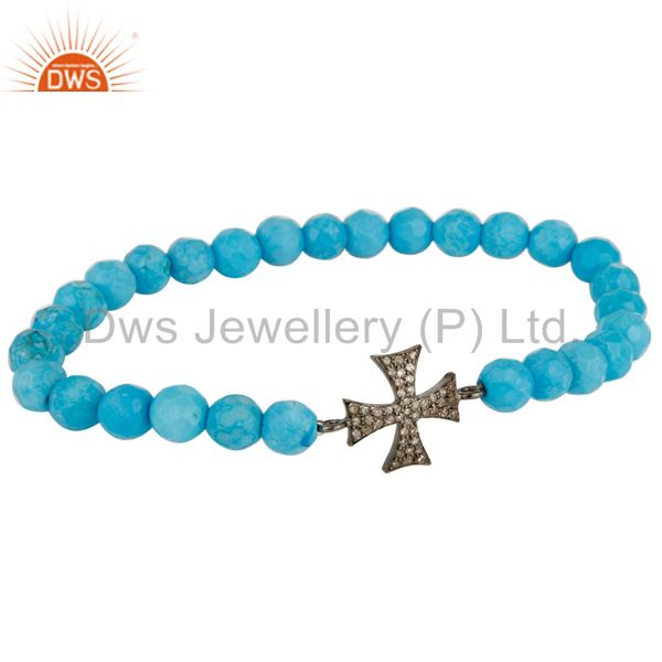 Pave Set Diamond Silver Star Charm Turquoise Gemstone Adjustable Bracelet