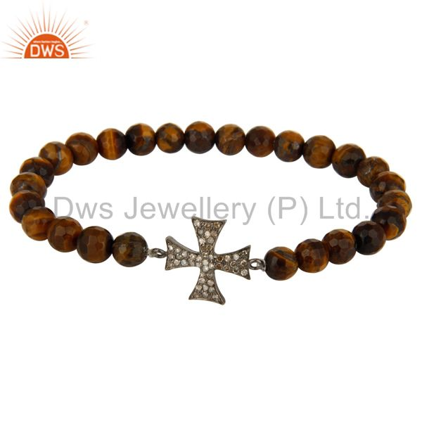 Faceted Tiger Eye Gemstone Bracelet With Silver Pave Diamond Star Charm