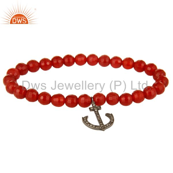 925 Sterling Silver Pave Diamond Anchor Sign Charms Carnelian Beads Bracelet