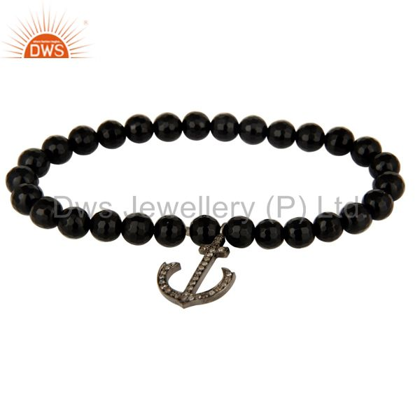 Black Onyx Beads Sterling Silver Pave Diamond Anchor Sign Charm Stretch Bracelet