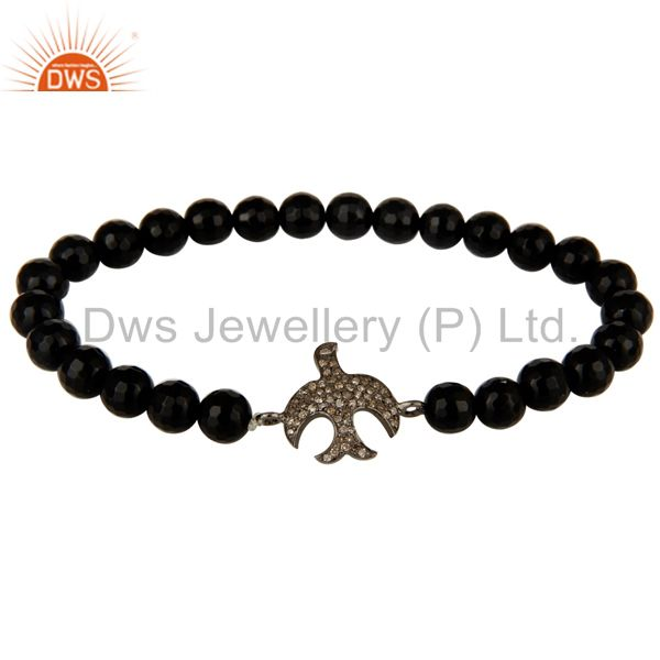 925 Silver Pave Diamond Flying Bird Charms Black Onyx Gemstone Stretch Bracelet