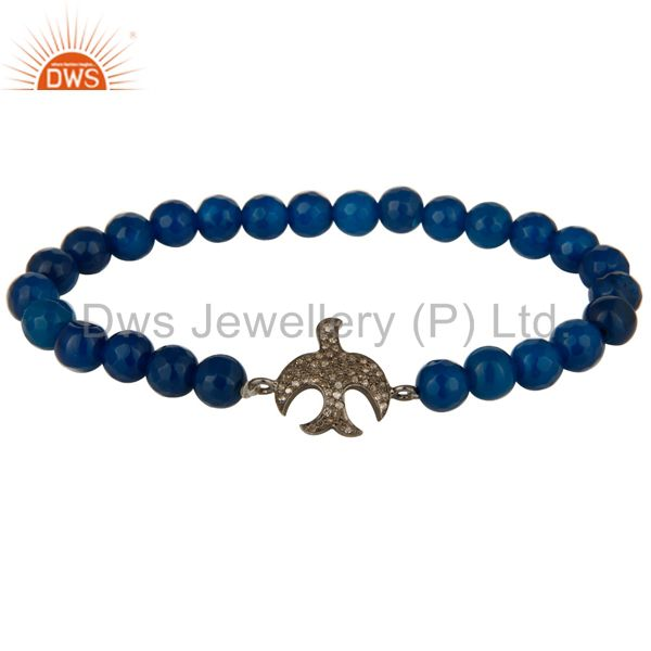 Blue Aventurine Beads Sterling Silver Pave Diamond Flying Birds Charms Bracelet